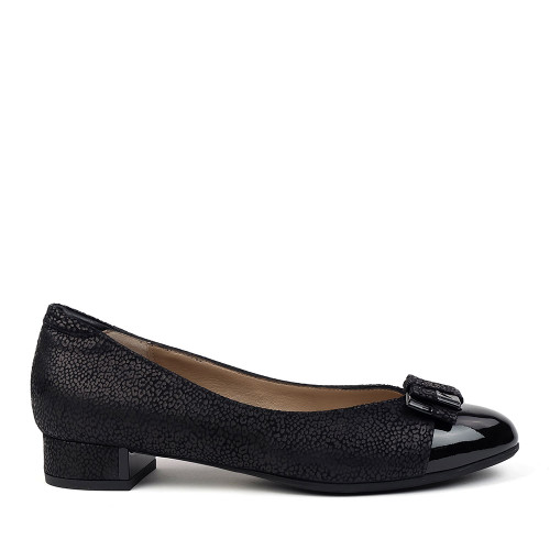 Beautifeel Etta Black leo flat side view - hanig's footwear