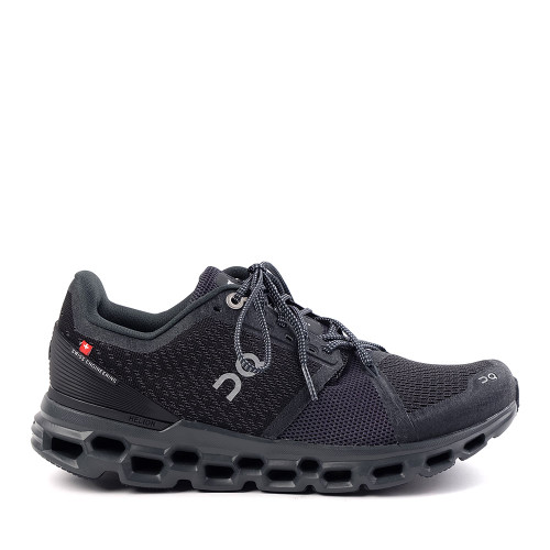 ON Running Cloudstratus Black Womens side view - Hanig's Footwear