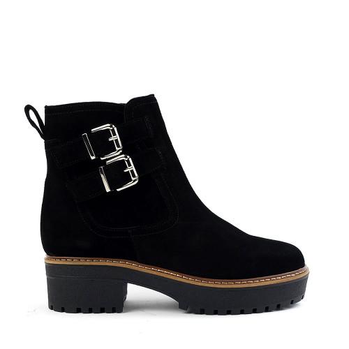 Valdini Kim Boot in black suede side view - Hanig's Footwear