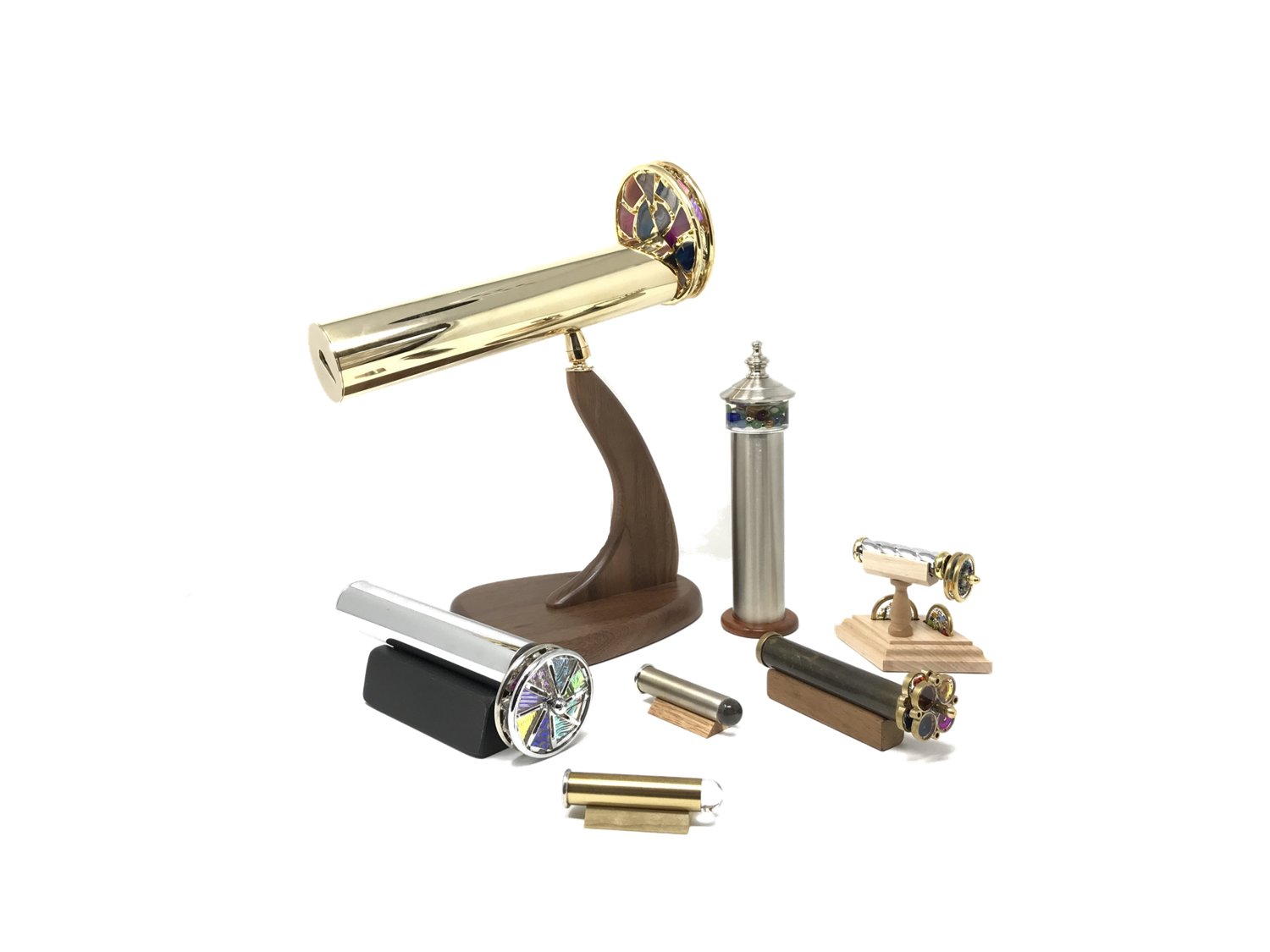 Handcrafted, collectible kaleidoscopes in brass, chrome and other metals.