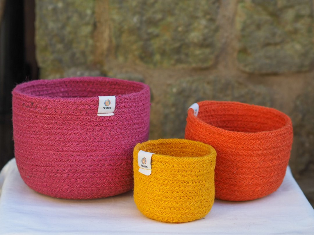 Tall Colourful Jute Storage Basket Sets