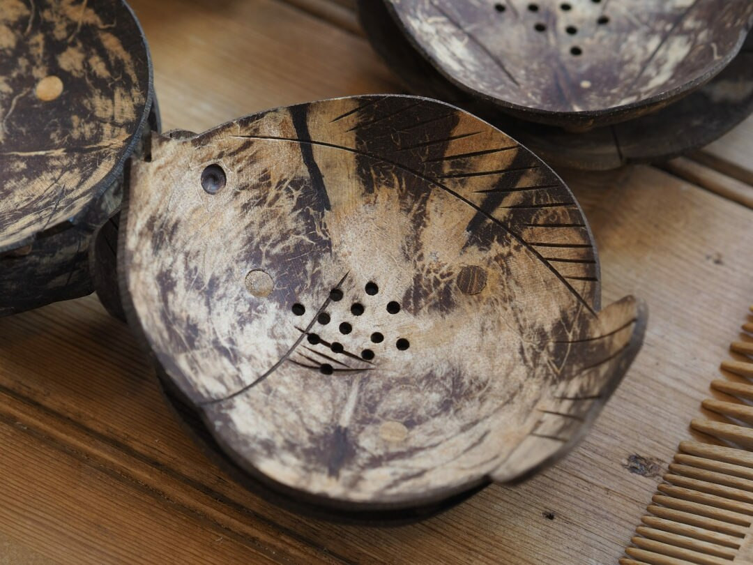 Natural Fairtrade Coconut shell soap dishes