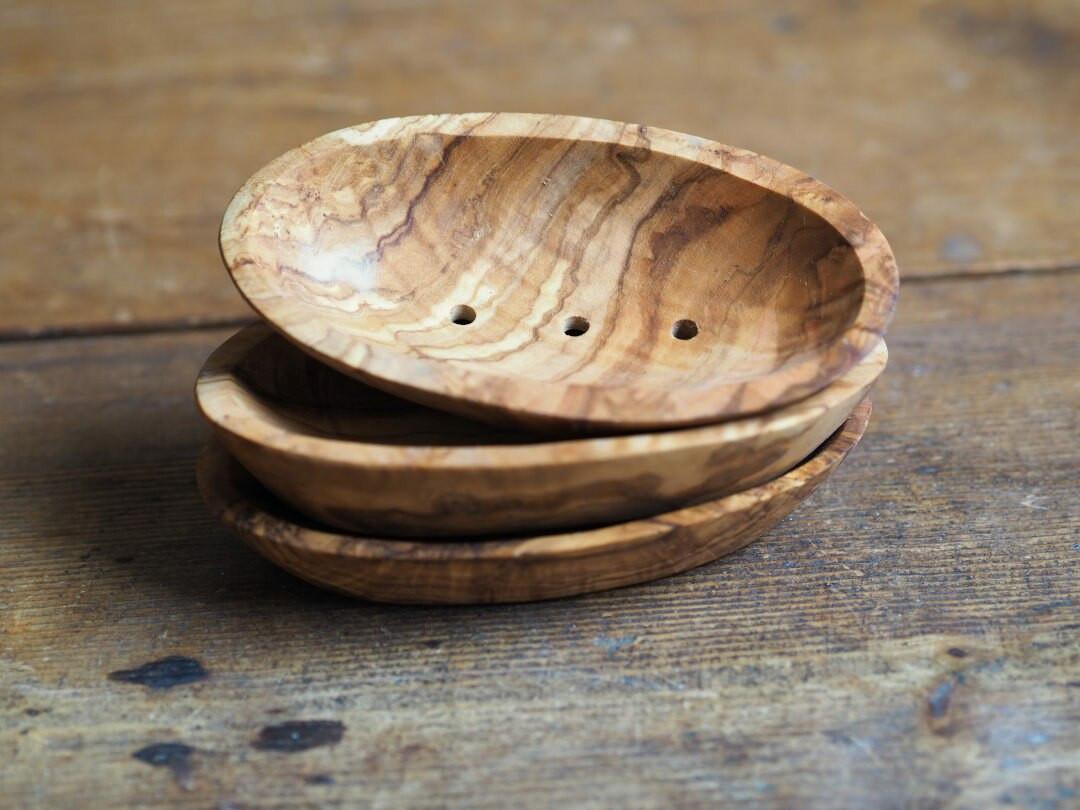 Olive wood soap dish