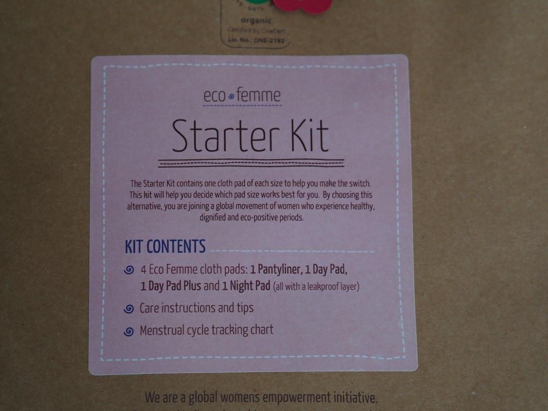 Eco femme organic cotton sanitary pad starter kit
