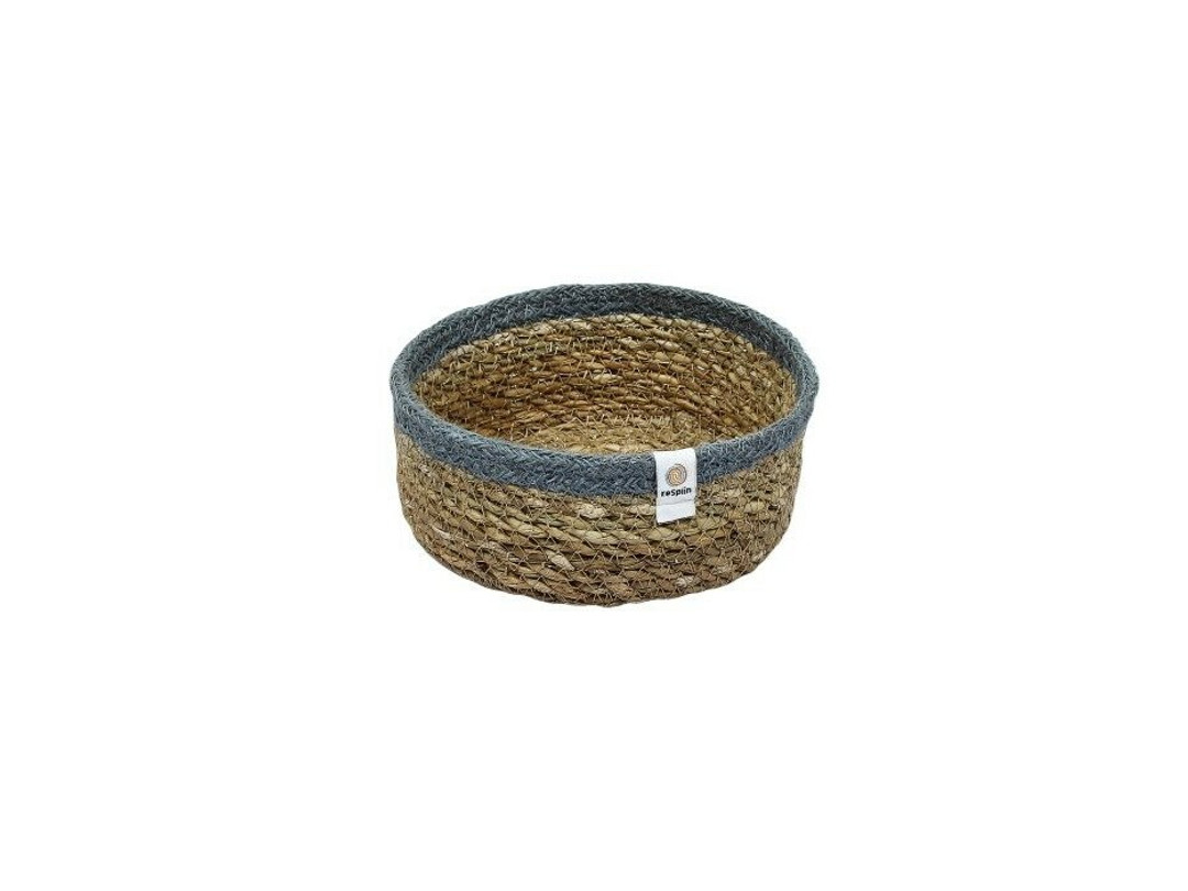 Seagrass and Jute small basket - Grey