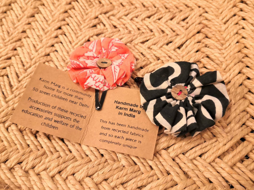 Recycled fabric flower hairclip