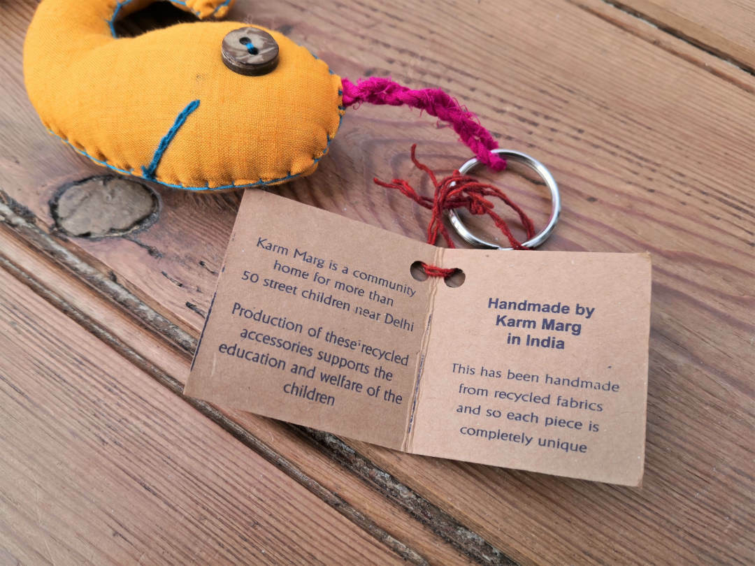 Fairtrade recycled fabric fish keyring