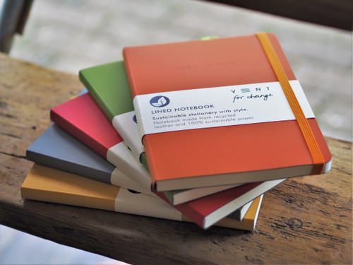 A5 Recycled Leather Lined Notebook