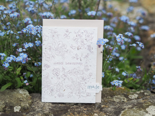 Merci Beaucoup plantable seed greeting card