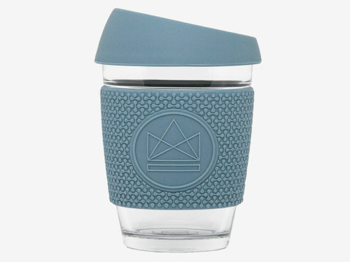 Reusable glass coffee cup 340ml - Storm blue