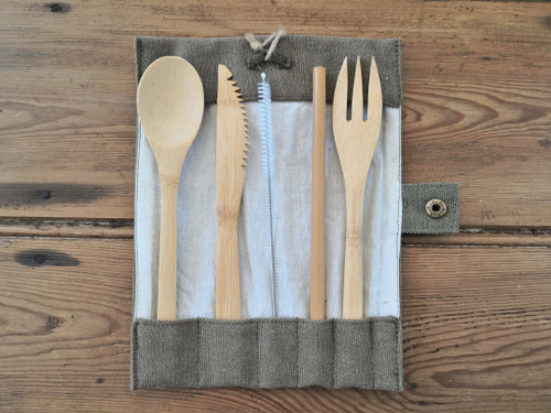 Bamboo cutlery set with cotton roll
