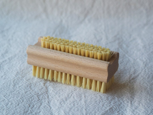 Wooden nail brush with Tampico bristles