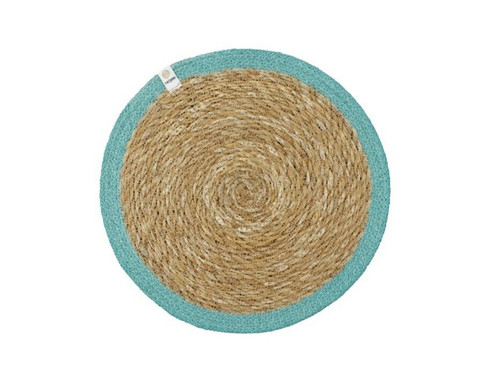 Seagrass and Jute placemat - Turquoise