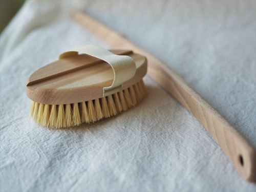 Wooden bath & back brush with removable handle