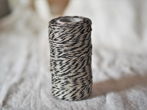 Black & Natural flax yarn