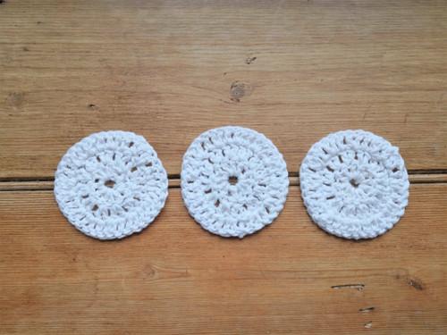 Handmade cotton face pads x 3