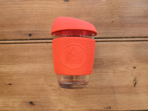 Reusable glass coffee cup 340ml- Coral