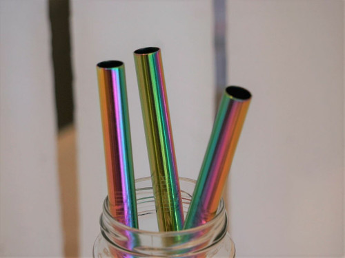 Wide Smoothie Stainless steel straw rainbow