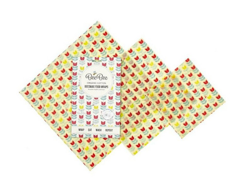 Beeswax food wraps Mixed 3 pack - Tulips