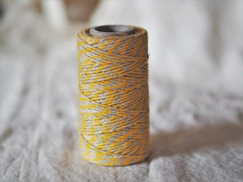 Yellow & Natural flax yarn twine