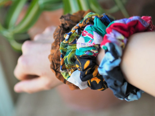 Fairtrade recycled patchwork hair scrunchie