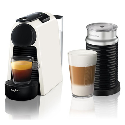 Nespresso Essenza Mini + Aeroccino3 Coffee Machine by Magimix in White