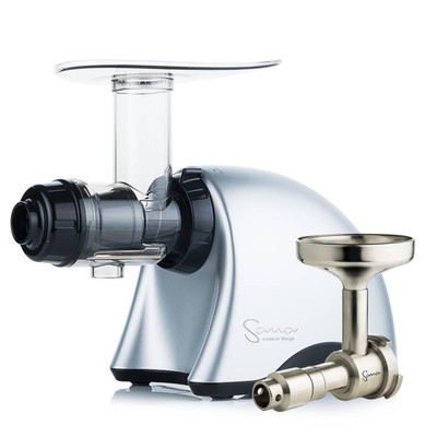 Omega Sana EUJ-707PG Slow Juicer in Matte Silver with Oil Attachment