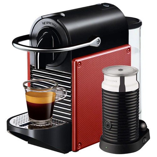 Magimix Nespresso Pixie with Aeroccino Coffee Machine in Red