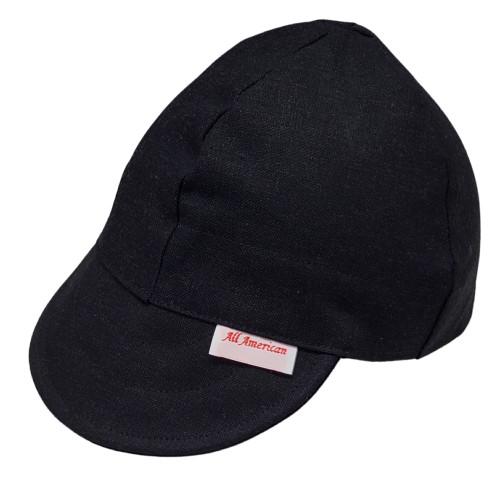 All American Hats Black Denim Medium Weight Biker Cap Hat
