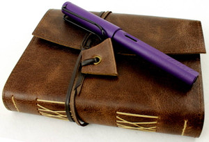 Antique Oak Leather Travel Journal in pocket sized A6. Pen not included.