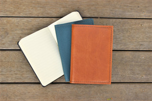 Cognac and Sea Blue notebook covers. Notebook included.