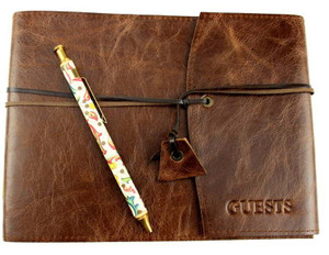 Guest book handcrafted in Antique Oak leather. Made in Australia