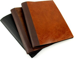 Beautiful handcrafted leather covers for display pocket folders. Handcrafted in Australia by a book lover. Personalise with a monogram or short name. Ideal for presentations, family documents and certificates.