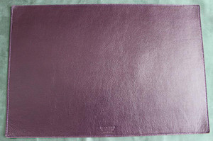 Desk Mat in Deep Purple Violet leather with Fabric Cork Backing.