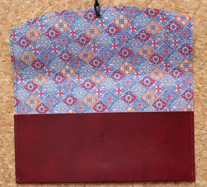 Leather Satchel in Cherry Red with Enamour Liberty of London print lining.