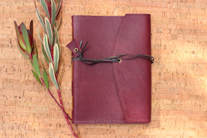Handmade Cherry Red Leather Journal with brown kangaroo strap