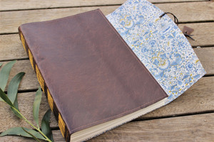 NEW A4 Majestic Leather Journal - Oak with Lodden Fabric