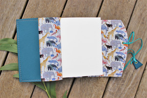 NEW A6 Leather Journal - Sea Blue with Zoo Fabric