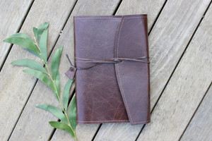 NEW Leather Book Wrap SMALL - Oak