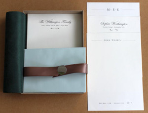Personalised Writing Set. Beautiful Mohawk 118gsm Creme paper and elegant Lotus coloured envelopes. Includes a writing mat and line guide.