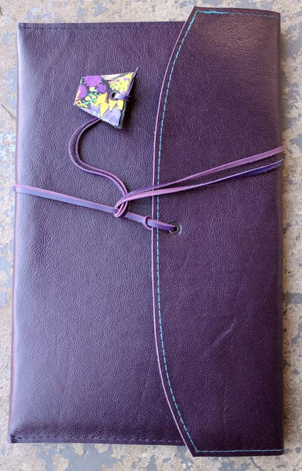Leather Satchel with kangaroo leather wrapping strap. Available in a range of leather colours. Deep Violet Purple is shown here.