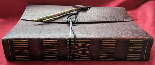 Leather journal Majestic A4 in Ruby leather