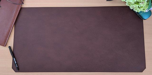 Leather Desk Mat  - Long Size.  Shown here in Chestnut leather.