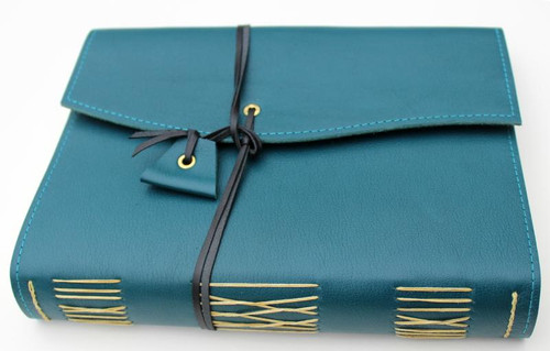 Sea Blue genuine leather journal. Handcrafted in Torquay, Australia.