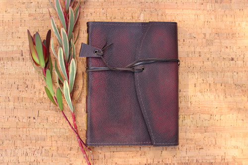 Hand stitched journal in genuine leather - RICH RUBY colour. Fabric lining inside of Liberty of London - LODDEN.  A William Morris Design Hand made in Torquay Australia.