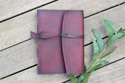 NEW A5 Leather Journal - Ruby