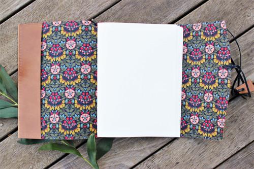 NEW A5 Leather Journal - Butterscotch & Persephone Dark Lining