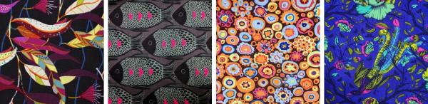 Collage of designer fabrics
