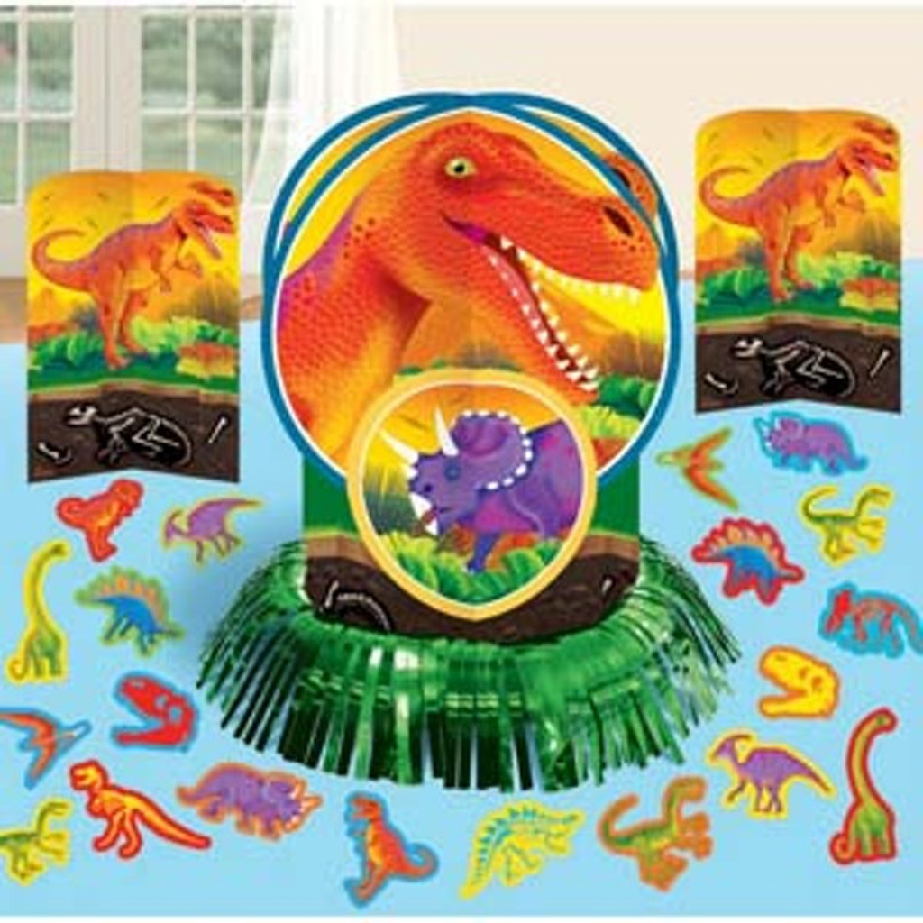 Prehistoric Dinosaur Table Decorating Kit - 3 Centerpieces & Confetti