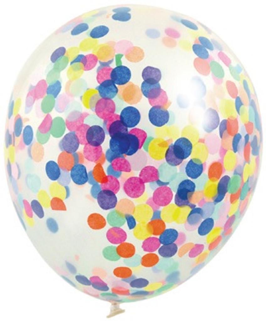 Multi Coloured 30cm Confetti Balloons - 3 Pack